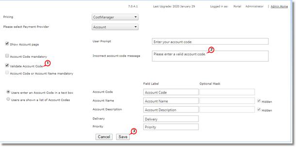 Validating Account Codes