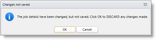 Example of the warning message that is displayed if you select another order without saving changes on your current selected order