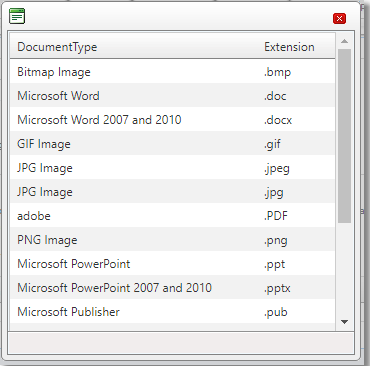 Example of the Supported File Formats Window