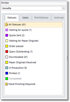 The Status order is shown in the list of statuses in the portals pane.