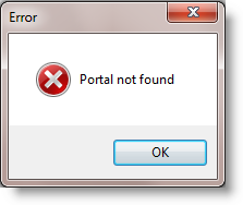 Example of error message when the portal entered is not recognised.
