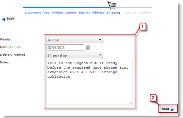 Example Delivery Details Web Page
